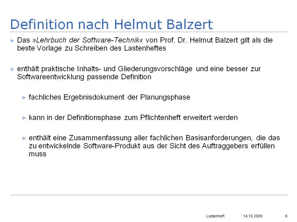 definition nach helmut balzert - Pflichtenheft Muster